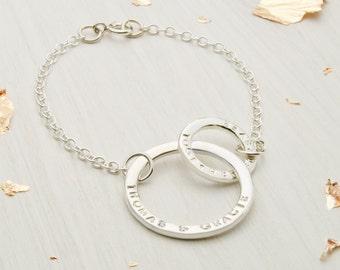 Personalised Sterling Silver Eternity Bracelet, Infinity Bracelet, Engagement Gift, Anniversary Present, Wedding Gift, Bridal Jewellery