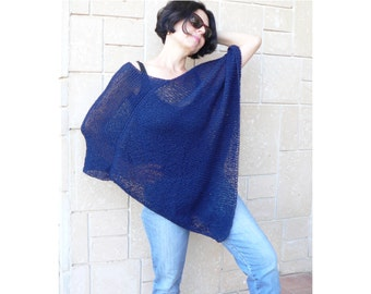 Dark Blue Hand Knit Woman Poncho Sweater Elegant Shawl Top Loose Neckline Cape Plus Size Wraps  Soft Acrylic Yarn