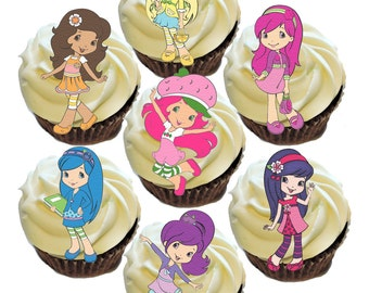 Strawberry Shortcake Cupcake Edible Images Toppers- *16 count of characters per wafer sheet*