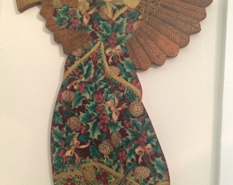 Hand painted wooden angel