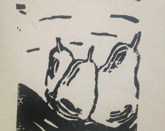 Original Linoleum Block Print