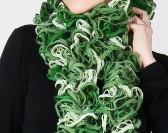 Shades of Green Crochet Knit Scarf