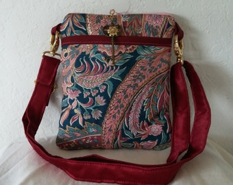 Pink teal paisley cross body bag