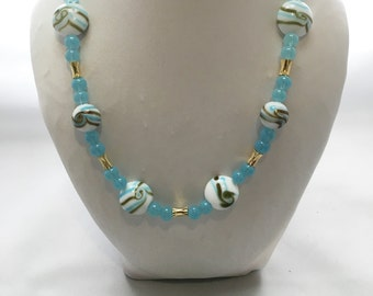 Aqua and gold Lampwork glass necklace and earrings