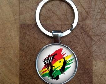 Bob Marley Reggae Glass Dome Round Cabochon Keyring Keychain Gift UK