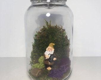 Gnome in Mason Jar Garden
