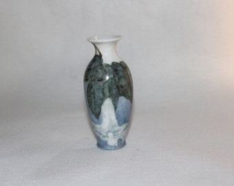 Small Vase O&EG Hand Painted Vase in Blue, Green and White