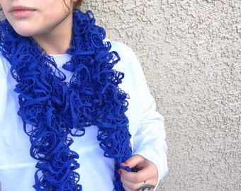 Royal Blue Ruffle Scarf
