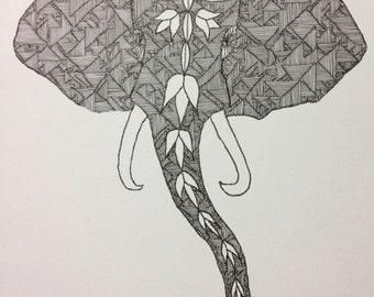 Elephant head illustration print