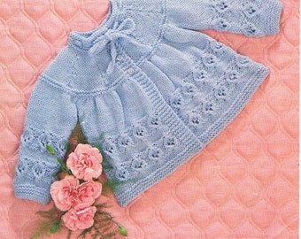 DK Baby Knitting Pattern - Matinee Coat - 17 to 18 ins - PDF - Instant Download