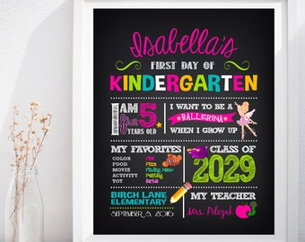 First Day of School Pre-K, Kindergarten, Grade School Custom Chalkboard Poster Sign
