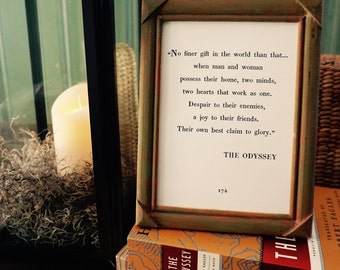 Small The Odyssey Husband Wife Home Quote, Printable Art, Book Page Design - *DIGITAL DOWNLOAD* (5x7 AND 8x10)