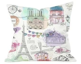 Pretty Paris Watercolour Illustrations Cushion Cover and Insert 40x40cm