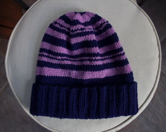 Beanie Hat, Organic Merino Wool, Purple and Pink Stripes, Adult Size M/L, Made in USA