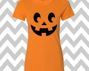 Jack-O-Lantern Pumpkin Face Halloween T-Shirt Scary Pumpkin Face Shirt  Halloween T-Shirt  Pumpkin Face Tee Halloween Party Shirt