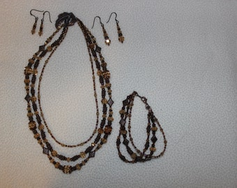 Hand Beaded Copper Blaze Swarovski Crystal Jewelry Set