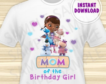 Doc McStuffins Mom of the Birthday Girl. Doc McStuffins Birthday Iron On Transfer. Doc McStuffins Birthday Shirt. DIGITAL FILE.