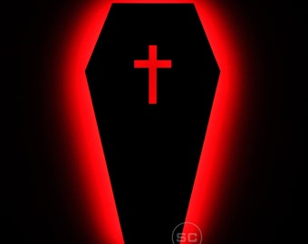Lighted Coffin Sign - Gothic Coffin Night Light and Wall Art Lamp - Gothic Decor