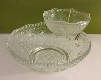 Vintage Clear Glass Chip and Dip Set