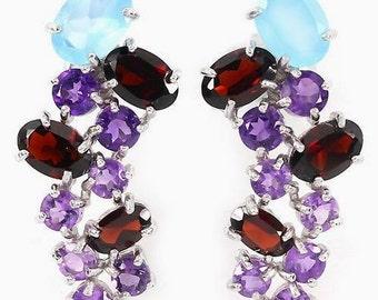 Natural CHALCEDONY, GARNET, AMETHYST  silver earrings
