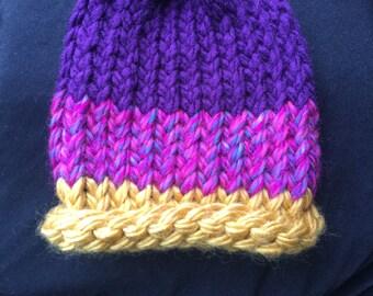 Knitted newborn baby girl hat