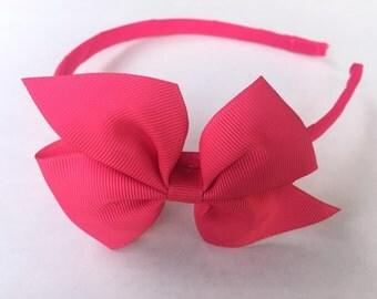 Riya's HeadBand, hot pink headband with 3.5 in bow