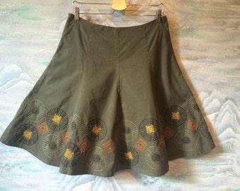 Vintage 80s khaki Midi cotton skirt Brown Gray Embroider skirt Size Large