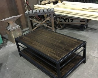 dark espresso stain custom steel frame coffee table.