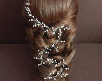 Bridal hair vine Long vine bridal hair Pearl bridal headpiece Crystal hair vine Pearl Bridal vine Wedding hairstyle