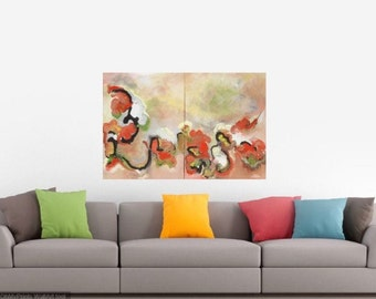 Abstract blossoms diptych