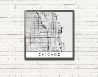 Minimalist Map Print of Chicago, Illinois (fits square frame)