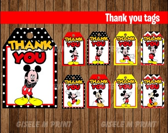 Mickey Mouse Thank You tags, Printable Mickey Mouse gift tags, Mickey party Thank You tags instant download