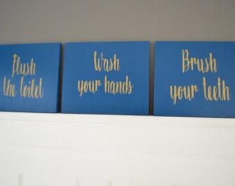 Bathroom Rules Wood Sign