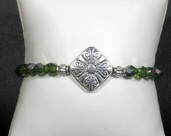 Fire-Polished Olive Green Crystal & Silver Bracelet