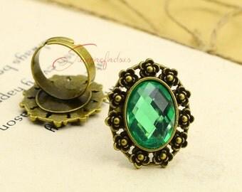 5pcs--Ring Setting Base/Blanks, Antique Bronze Adjustable Ellipse Cabochon Ring Base Setting, inner 13x18mm RK0513-3018