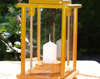 Wood, lantern, yellow/orange, height 33 cm