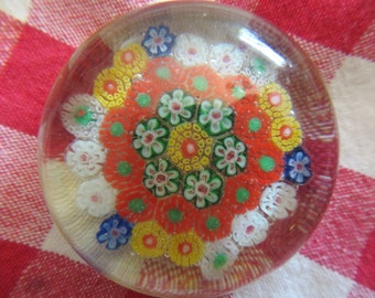 Vintage Millefiori Glass Paperweight w/ free ship