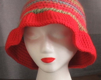 Crochet Multi-color Hat with Adjustable Brim