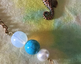 Seahorse and bubble necklace