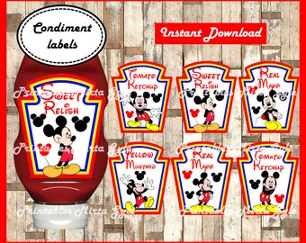 Mickey Mouse Condiments Label, printable Mickey party Condiments Label, Mickey Mouse birthday Label