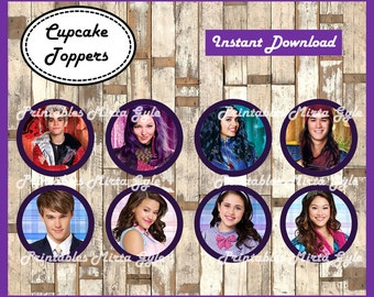 Descendants cupcakes toppers, printable Descendants party toppers,  Descendants cupcakes toppers