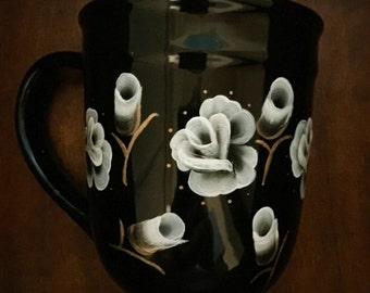 Roses on Black Coffee Cup