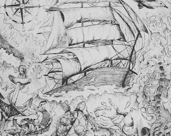 Nautical Etching Print