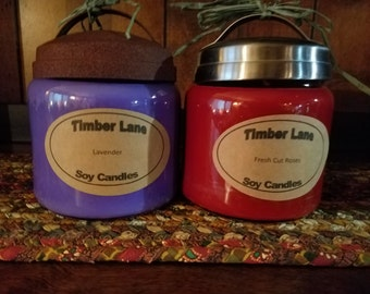 Floral Collection 16 oz. Soy Candle, Apothecary Jar, All Natural, Handmade, Rose, Lavender