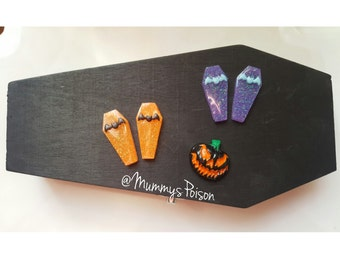 Pastel Goth Halloween Bat Purple Coffin Earrings