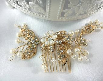 Romantic Golden Bridal Hair Comb