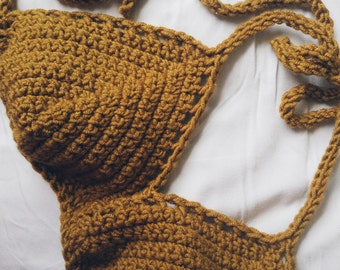 soft mustard yellow crochet swim top