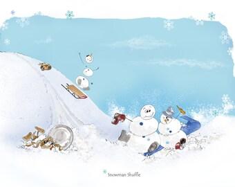Winter 8x10 print // winter illustration // snowman illustration // snowman art