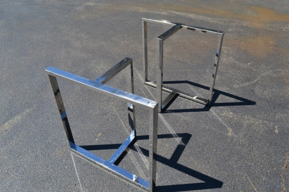 Steel T Shapes : Polished stainless steel metal t shaped table desk bench legs