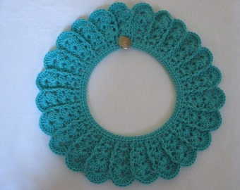 Crochet collar lace Peter Pan collar collar TURQUOISE cotton crochet